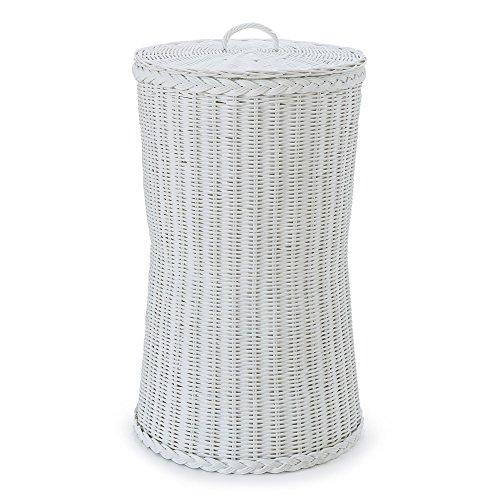 """URBANARA Wäschekorb """"Java"""" - 100% Rattan mit Baumwollinlett, Weiß, runde Wäschetruhe mit Deckel"""