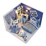 LED Puppenhaus Miniatur mit Möbeln,Idee DIY Hölzernes Puppenhaus-Kit Sowie staubdicht,für Geburtstag Weihnachts Geschenk Den Valentinstag Geschenk,Sternenhimmel der Fantasie