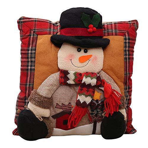 Weihnachten Baumwolle Leinen Bettwäsche Kissen, Auto Party Dekorative Kissen, Santa Clause Schneemann Cartoon Quadrat Kissen Dekorationen 35 * 35Cm B - Dekorative Auto Kissen