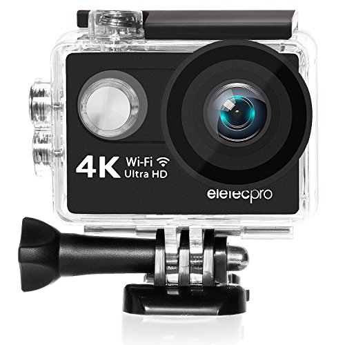 Action camera 4K, EletecPro 16MP WiFi Waterproof Camera 170 Degree Wide View Angle 2 Inch LCD Screen W/2.4G Remote Control/2 Rechargeable Batteries/19 Accessories Kits Wearable Sports Camera with Remote Control Available for Car Aerial Shooting and Sports