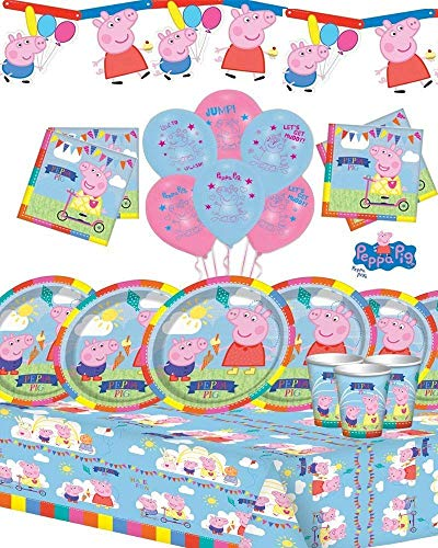 Peppa Deluxe-Party-Kit für 16 New Room Banner & Ballons