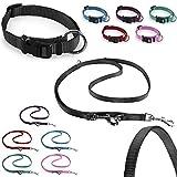 CarlCurt Classic-Line Hundehalsband & Hundeleine im Set, aus strapazierfähigem Nylon, XS 22-35cm & XS 1,90m, schwarz