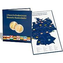 """LEUCHTTURM 300408 PRESSO Münzalbum für 16 deutsche 2 Euro Gedenkmünzen der Bundesländer   2 Euroserie """" Deutsche Bundesländer""""   blau"""