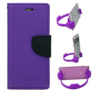 Aart Fancy Diary Card Wallet Flip Case Back Cover For Redmi MI4I - (Purple) + Flexible Portable Mount Cradle Thumb Ok Stand Holder By Aart store