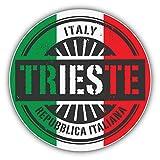 lunaprint Trieste Italy World Flag Stamp Art Decor Vinyl Sticker Aufkleber 12 x 12 cm