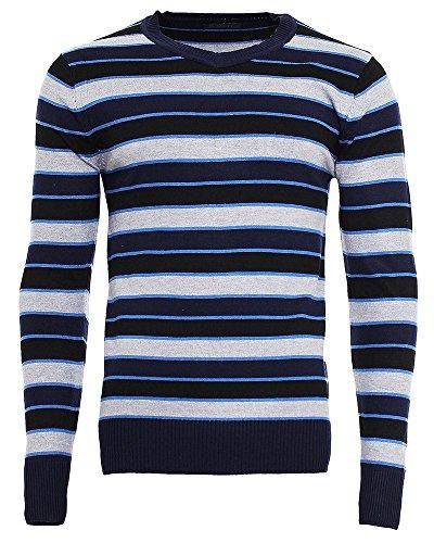 M168 Herren Pullover Longsleeve T-Shirt Langarm Pulli Figurbetont Sweatshirt Dunkelblau
