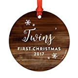 Round Christmas Ornaments Girl Boy Twins' First Christmas 2017 Ceramic Novelty Decorative Hanging Christmas Gifts Baby Shower Gifts
