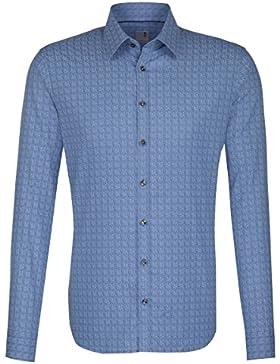 Seidensticker Herren Langarm Hemd Schwarze Rose Slim Fit Print blau strukturiert mit Piping 243550.17