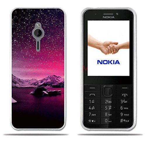 Fubaoda Nokia 230 Hülle, [Sunset Snowy Mountains] Transparente Silikon TPU Glamour Serie Slim Fit Shockproof Flexible Vollschutz Anti Schock Design Blumen gedruckt Blume für Nokia 230