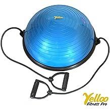 Pilates Ball - Pelota para Pilates Pro Trainer Bosu Balance Trainer con gomas elásticas para yoga,  fisioterapia, color azul