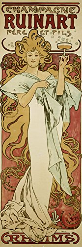 Artland Alte Meister Kunst Bild Jugendstil Alfons Mucha Wandbilder Champagne Ruinart 60 x 20 cm Leinwandbild Deko Art R1RJ