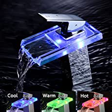 HITSAN INCORPORATION Bathroom LED Waterfall Faucet Sink Hot Cold Mixer Tap Temperature Control Light Tap