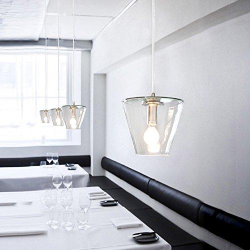 Pendelleuchte Modern Minimalistische Haengelampe Hängeleuchte Leuchte Glas Schirm Hängelampe Küche Wohnung Restaurant Esszimmer Flur Lampe Hänge Lampe Beleuchtung Ø18cm H115cm Höhenverstellbar