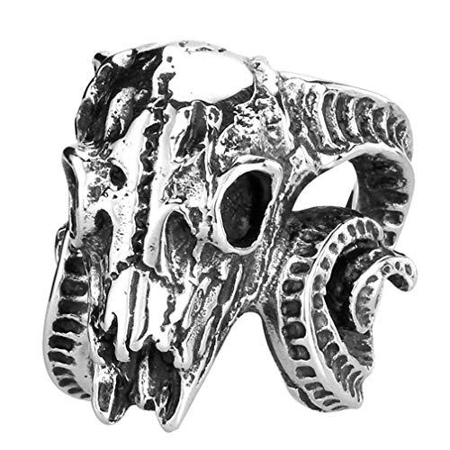 XBYN Männer Weinlese gotische Edelstahl Ring Bete Baphomet Ram Schaf Ziege Kopf Horn Biker Ringe