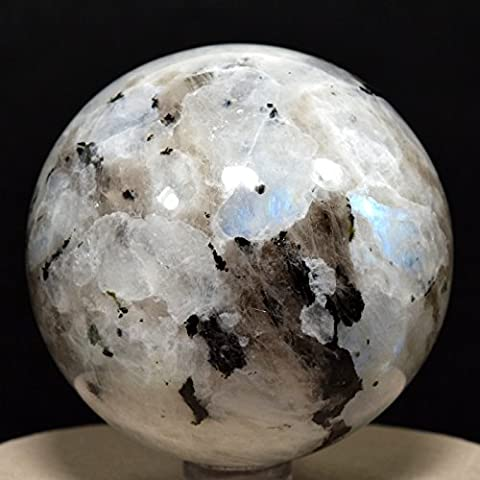 65mm Rainbow Moonstone Crystal Sphere with Black Tourmaline Natural Rare Blue Flash Polished Ball Feldspar Mineral Stone -