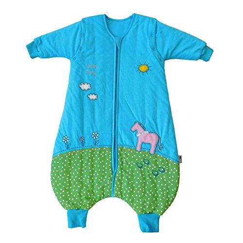 Schlummersack Schlafsack mit Füßen ganzjährig in 2.5 Tog mit abnehmbaren Ärmeln - Pony - 80 cm