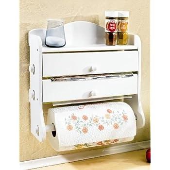 3-fach HOLZ Küchenrollenhalter WEISS - 37x38x14 cm