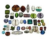 1 Kilo Glasperlen Mix Glas Perlen Nur Silberfolie Lampwork Rund Oval Konvolut Bunt Perlenset Bastelset Für Schmuck zur Schmuckherstellung von Halsketten Armband DIY Basteln Schmuck Design (1000)