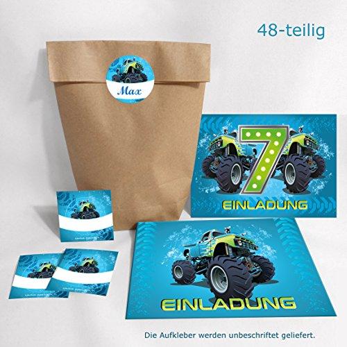 12-er Set Einladungskarten, Umschläge, Tüten/natur, Aufkleber 7. Kindergeburtstag Monstertruck Jungen Geburtstagseinladungen Einladungen Geburtstag Kinder Kartenset Auto (Monster-truck-aufkleber Für Autos)