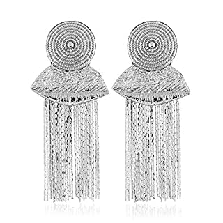 A4TECH Alloy tassel earrings retro earrings Europe and the United States personalized jewelry temperament gift fashion earrings jewelry (color : Silver)