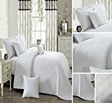 INSPIRATION 3 Pieces Bed Set 1 Bedspread Comforter Border Quilted With 2 Pillow Shams (HRM/White, INS/King)