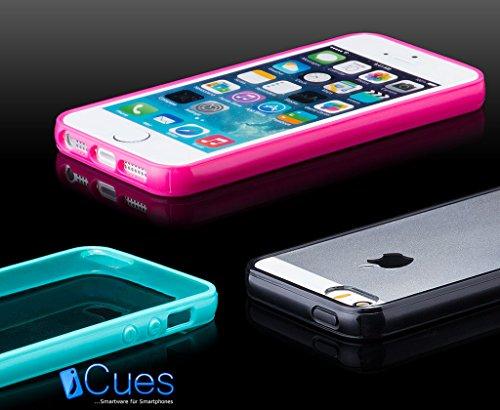 Apple iPhone SE / 5S / 5 | iCues TPU Pare-chocs avec Clear Retour Case Light Blue | [Protecteur d'écran, y compris] protecteur de feuille transparente Temps clair de gel de silicone Housse étui de pro KLAR Dunkelblau
