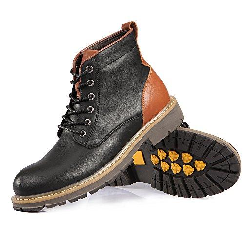 Shenn Homme Cheville Haute Lacets Confort Militaire Motard Bottes Noir