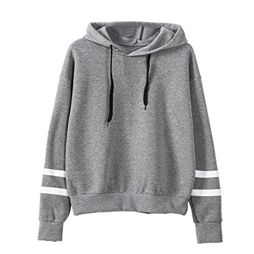 Reaso Sweat Shirt Hooded Sports Femme Automne Tops à Manches Longues Blouse Col Rond Casual Pull Elegant Dames Hiver Rayé Sweat-shirt Coton Sweats à capuche Chemisier (S, Gris)