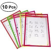 NUOLUX 10pcs Resuable Dry Erase Pockets Papelería suministros para Office School (colores surtidos)