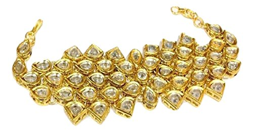 Gold Plated Kundan Bracelet Fashion Kada Artificial Jewellery for Girls And womens (Adjustable size)
