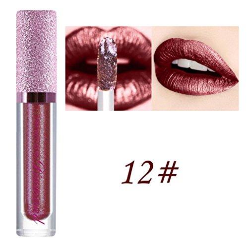 Rouge à Lèvres, Tefamore Diamants Shimmer Lipstick Imperméable Longue Durée Maquillage cosmétique de Beauté de Lèvre (12#)