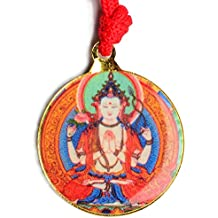 Schutzamulett Buddha Anhänger Chenresig mit Kalachakra