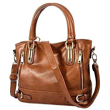 Vbiger Large Handbag Zipper Satchel Tote Bag Shoulder Bag for Women (Black 2)