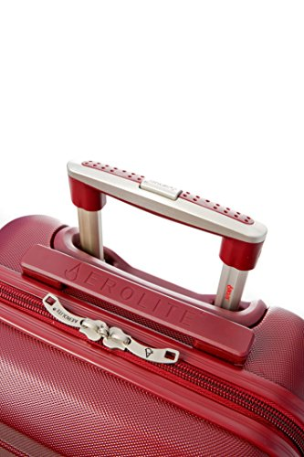 Aerolite Große Leichtgewicht ABS Hartschale 4 Rollen Trolley Koffer Reisekoffer Hartschalenkoffer Rollkoffer Gepäck , 79cm , Wein - 2