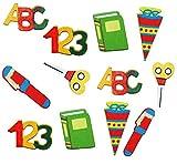 """Set: """" Schulanfang """" - Streumotive aus Holz - Schultüte + Buchstaben + Stifte - als Tischdekoration zum Schulanfang Kindergeburtstag - Streudeko Basteln Dekoration Schulbeginn Tischdeko Streumaterial - Einschulung"""