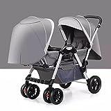 LZTET Kinder Doppel-Kinderwagen Doppel-Kinderwagen Kann Sitzen Liegend Zusammenklappbar Doppeltrolley Kinderwagen Leichtgewicht,Gray