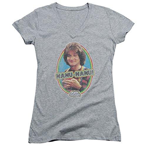 2Bhip Mork & Mindy Robin Williams 80's CBS TV Series Nanu Nanu Junior V-Neck T-Shirt