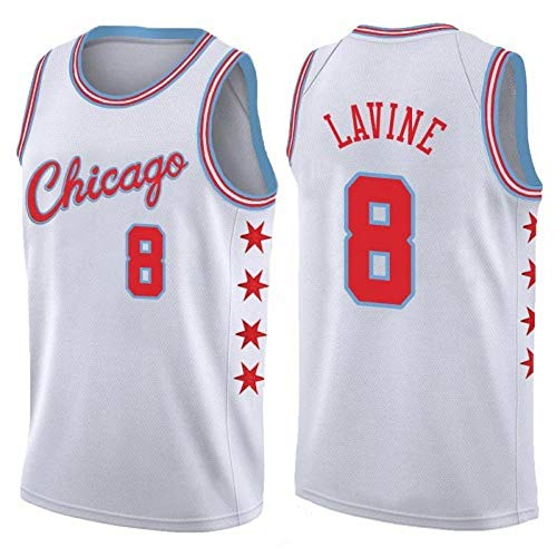 Zach LaVine # 8 Herren-Basketballtrikot - NBA Chicago Bulls , New Fabric Embroidered Jersey Sleeveless Shirt,White(B)-XXL