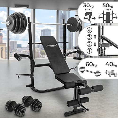 Physionics Hantelbank mit Gewichten | 60kg Lang- / 40kg Kurzhanteln Set, Klappbar & 4-Fach Verstellbar, Butterfly + Beinstrecker und Beinbeuger | Schrägbank, Trainingsbank