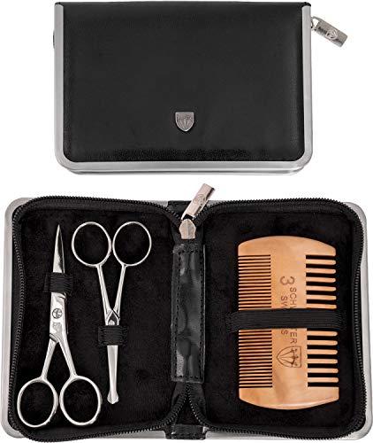 """Drei Schwerter – Kombiniertes 3-teiliges Pflegeset """"Gladio"""" für die anspruchsvolle tägliche Bartpflege und Haarpflege mit Bartkamm aus Echtholz, Bartschere und Nasenhaarschere"""