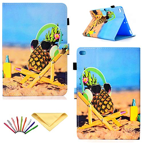 Uliking iPad 9.7 2018 2017 Hülle (iPad 6. / 5. Generation), Apple iPad Air 1 / Air 2 Hülle, Smart Folio Stand PU Leder TPU Shell Auto Sleep/Wake Cover Card Slots Stifthalter blau 02# Sea Pineapple