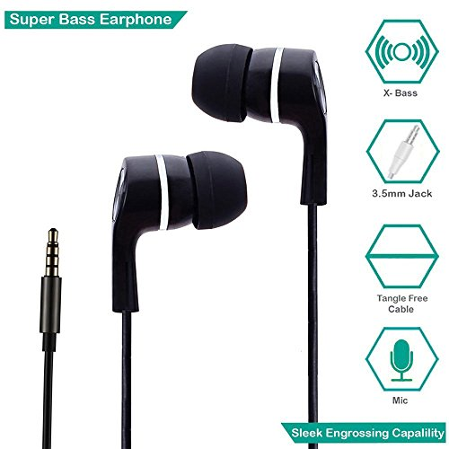 FJCK In-Ear Headphone With Mic / earphone With Mic Super Extra Bass - Black  available at amazon for Rs.99