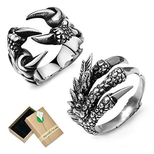 EQLEF Drachenring Herren Set, Gothic Ring einstellbar Wild Alondra Open Punk Ring Geschenk Cool Dragon Ring für Männer Frauen (2 Stück) (C)