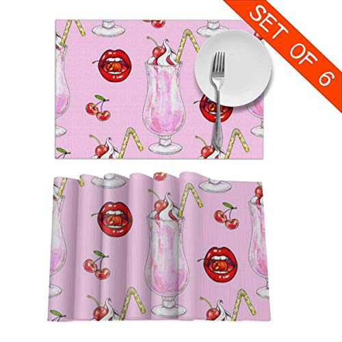 BigHappyShop Placemats Cherry Milk Shake Whipped Cream Jam Red Lips Heat Insulation Kitchen Stain Resistant Placemat for Dining Table Set of 6