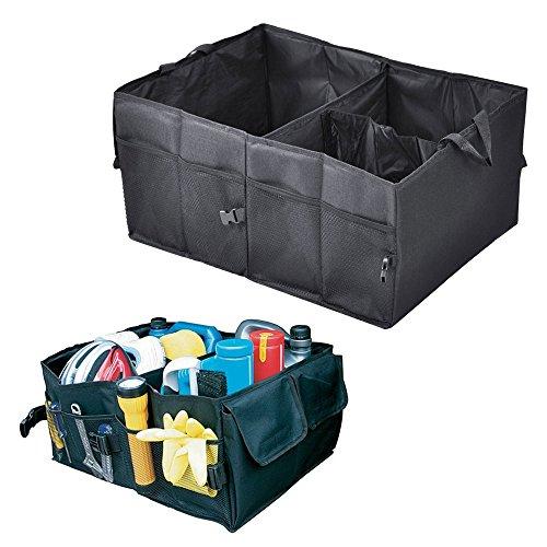 TekBox® 2 in 1 Car Boot Organiser / Foldable Heavy Duty Jumbo Bag Shopping Tidy Storage - Car and Tool Organizer - Black