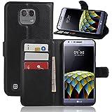 Supremery Etui pour LG X Cam Étui protecteur - Flip Cover en noir avec fermeture magnétique, fonction d'état, Cartes argent pli