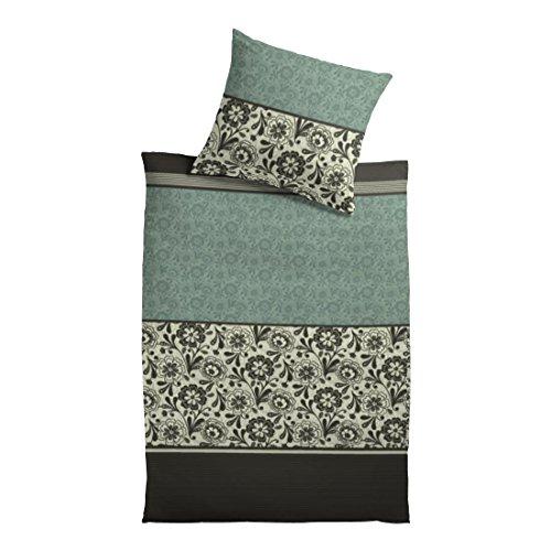 Baumwoll-Satin Bettgarnitur VintageFlower - grün - 135x200cm, 100% Cotton, 2-teiliges Bettwäsche Set (Art-deco-bettwäsche)
