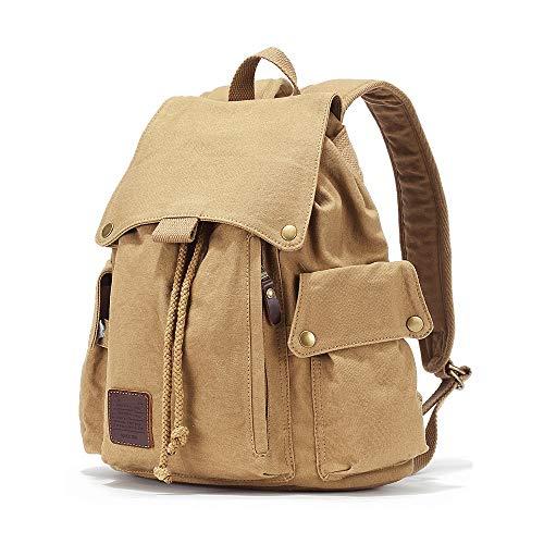 NY-close Canvas Backpack Utility Backpack Kordelzug-Design-Rucksack Einfache Retro-Schultasche Reisetasche mit großer Kapazität für lässige Rucksäcke, 13-Zoll-Computer (Color : Khaki)