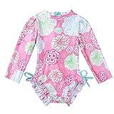 iEFiEL Baby Mädchen Badebekleidung Langarm Badeanzug Blumenmuster One Piece Tankini Bikini Bademode Sommer Anzug für Kleinkinder 0-24 Monate Rosa 50-56 (Herstellergröße: 65)