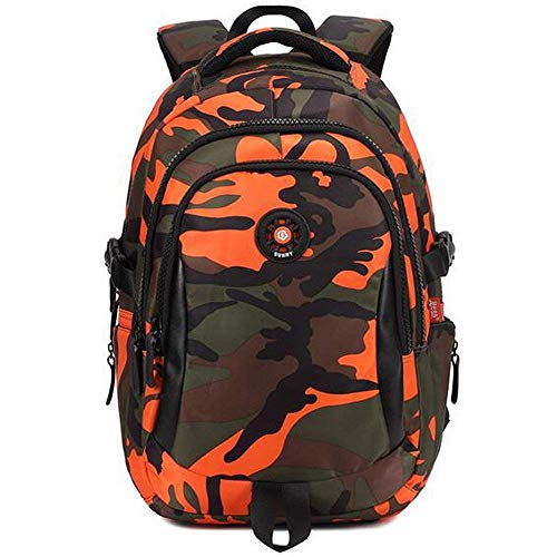 C-Xka Grundschüler Camouflage Printed Schultasche Nylon Rucksack Unisex Outdoor Travel Daypack (Farbe : Orange, größe : L)